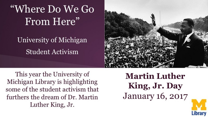 Image of Martin Luther King Jr, waving to a large audience. Text that says