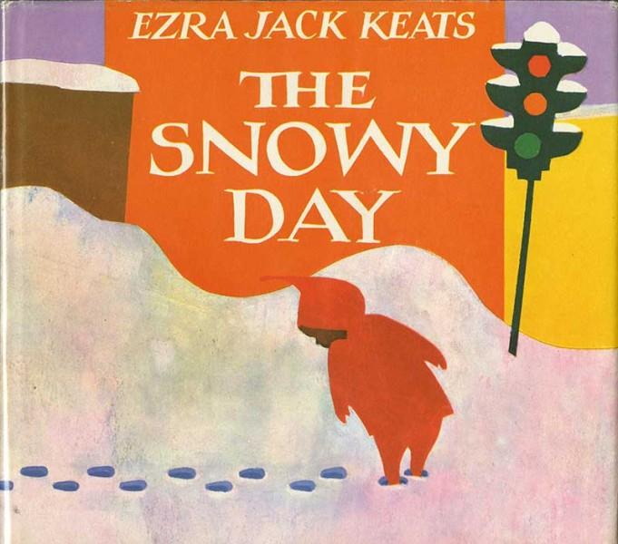 front cover of The Snowy Day featuring an illustration of a small child walking in snow