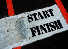 Image of the start/finish line of a track