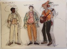 Sketch depicting costume designs for three characters from As You Like It: Jacques, Duke Senior, and Amiens