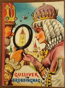 Front cover of Gulliver in Brobdingnag, showing Giant King and Queen holding a magnifying glass