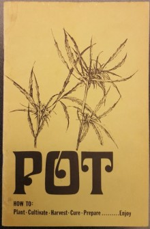 Paper wrapper with title of publication and illustration of marijuana plant in black ink