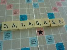 "Scrabble tiles spell out ""database."""