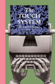 Book cover with green background and pink vertical bar on the lefthand side. Black and white photograph of hands typing on a typewriter with a color blue and black piece of paper coming out with the book's title and author.