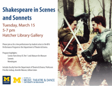 Poster for Shakespeare in Scenes and Sonnets. All information included in post text below.