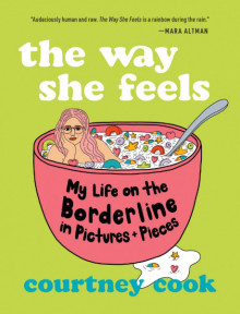 Book cover with lime green background. Illustration of a girl with pink hair and glasses sitting inside a cereal bowl filled with colorful marshmallow its.