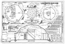 Digitized architectural drawing of Dome Home