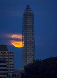Digital image of Washington Monument and full moon