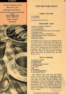 Cookbook page with recipe for Spice Fingers