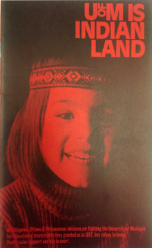 "cover of pamphlet ""U of M is Indian Land,"" including a photograph of a smiling Native American child"