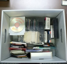 Box filled with digital media from the Altman collection