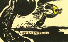 "printed words ""art in Detroit"" with an ink drawing of a question mark running from a dark shape"