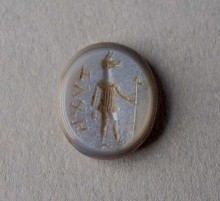 Anubis Amulet. Faience. 7th-1st c. BC Fayum, Egypt. David Askren, 1925. KM 23431