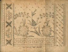 Embroidery pattern with pineapples in the middle and abstract or floral borders on the left, right, and bottom