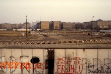 Digitized slide of Berlin Wall