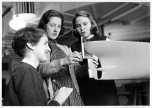 1959 photograph of Darien Pinney, Judy Robinson, and Susan Ott, the first women to study naval architecture at U-M.