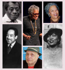 Collage of photos of famous black authors