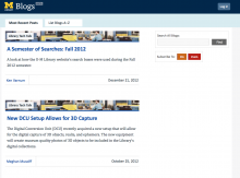 Blog platform screen shot