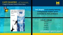 """Picture of the cover of """"Cafe Shapiro Anthology 19th Annual 2016"""" on a blue, yellow, and teal backdrop with the title """"Cafe Shapiro 20th Anniversary"""" at the top and with the dates in black."""