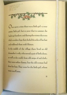 Opening page of the text of The Red Shoes by Hans Christian Andersen. 1928 Fine Press Edition with chapter heading of red shoes and leaves.