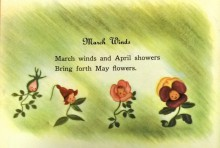 March Winds nursery rhyme illustrated by anthropomorphic flowers