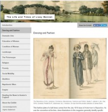 Screenshot of online exhibit, showing header image of English manor house, exhibit sections down the left side, and two fashion plates in the center-right: a pink ball gown and three promenade dresses.