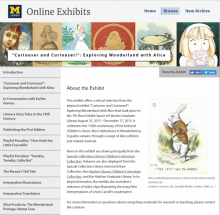 Screenshot of online exhibit, showing various illustrations of Alice in the header, sections of the exhibit in the left navigation bar, and a brief introduction in the central text area