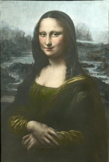 Colorized lantern slide of Leonardo da Vinci's Mona Lisa