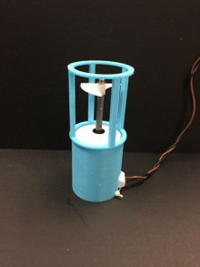 A light-blue 3D-printed thruster shroud