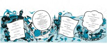 Children's breakfast menu with blue and black illustrations of children and animals
