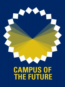 """Dark Blue background with the words """"Campus of the Future"""" in yellow below the logo"""
