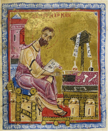 Mich. Ms. 22, detail of fol. 83v. The Evangelist Mark, from a Book of Gospels Greece, end of tenth-beginning of eleventh century; miniatures: beginning of twelfth century
