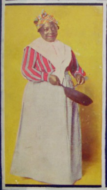 African American woman holding a frying pan