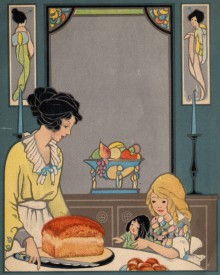 Mother and child with a loaf of bread, in an style that draws both from Art Deco and Art Nouveau