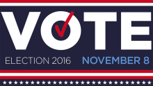 "Red, white, and blue banner with stars and stripes and large text that says ""VOTE"", ""Election 2016"", and ""November 8""."