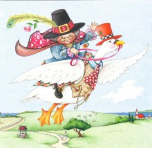Mother Goose depicted as a cheerful elderly woman in a pilgrim's hat riding a white goose wearing a waistcoat through the air