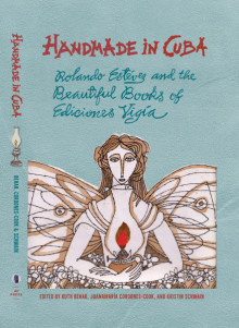 Book Cover: Somewhat abstract drawing of a woman with wings holding an oil lamp on a pale blue background