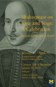 Poster based on an engraving from William Shakespeare (1564-1616) Mr. William Shakespear's comedies, histories, and tragedies: published according to the true original copies. ; Unto which is added, seven plays, never before printed in folio: viz. Pericles Prince of Tyre. The London prodigal. The history of Thomas Lord Cromwel. Sir John Oldcastle Lord Cobham. The puritan widow. A Yorkshire tragedy. The tragedy of Locrine (London: H. Herringman, E. Brewster, and R. Bentley, 1685) The Fourth Folio