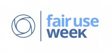 "A donut shaped circle next to the words ""fair use week"" in light and dark blue."
