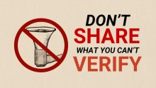 "A picture of a crossed out megaphone next to the words ""Don't share what you can't verify"""