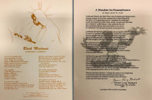 "Left: a broadside with the text of Harold G. Lawrece's poem, ""Black Madonna"" below a sepia-toned depiction of a Black woman as the Virgin Mary gazing lovingly at a Black infant. Right: A broadside with the text of Naomi Long Madgett's ""A Mandate for Remembrance"" laid over a watermark illustration of a stylized human figure sitting cross-legged and lifting their arms. A fire or sunburst appears in their left hand."