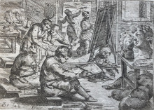 The Artist Workshop, copperplate engraving from Odoardo Fialetti.  Il vero modo et ordine per dissegnar tutte le parti et membra del corpo humano (The Accurate Technique and Order to Draw the Parts and Members of the Human Body)Venice: Remondini, ca. 1700s