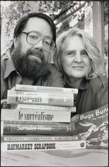 Franklin and Penelope Rosemont with books and their mascot Bugs Bunny, 1998