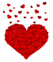 Tiny little red hearts in the shape of a giant red heart