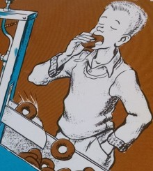 An drawn illustration of a boy, eyes closed, eating a doughnut fresh from the machine.