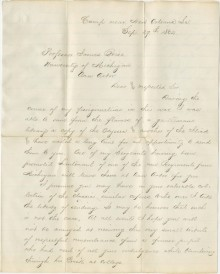 Letter by U of M Alum Capt. William Wirt Wheeler of the 6th Michigan Volunteers to his former professor of Greek, James Robinson Boise. New Orleans, September 29 1862