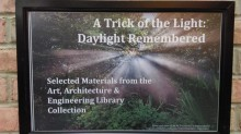 """A trick of the light: Daylight remembered"" sign"
