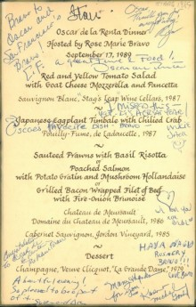 Menu including Red and yellow tomato salad with goat cheese mozzerella and pancetta, Japanese eggplant timable with chilied crab, sauteed prawns with basil risotta or poached salmon with potato gratin and mushroom hollandaise or grilled bacon wrapped fillet of beeef with fire-onion brinoise. Includessignatures by celebraties