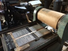Magnesium dies replicating the outer forme of the first gathering of John Dryden & William D'Avenant, editors. The tempest, or, The enchanted island. A comedy. As it is now acted at Their Majesties theatre in Dorset-Garden (London: H. Herringman, 1690). The press is a Vandercook 15, made in the 1950s. It was donated to Wolverine Press by Quick Carlson, a UM Alum (LSA 1949)