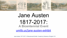 "Pictures of women with men and landscapes above the test ""Jane Austen 1817-2017: A Bicentennial Event"""
